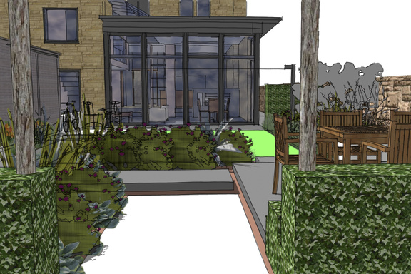 contemporary Edinburgh back garden design - view from pleached trees down cobbled path