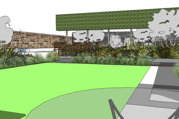 contemporary Edinburgh back garden design - view form patio doors across lawn to water feature and main patio