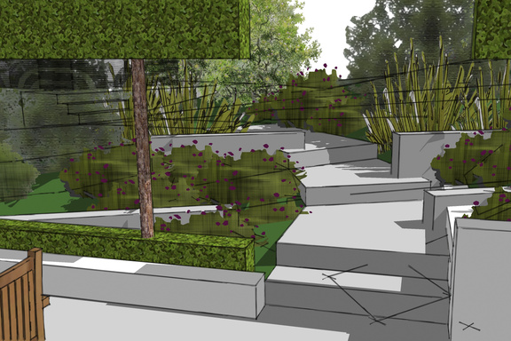 Scotland garden design - contemporary steps lead to woodland garden